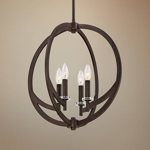 "Quoizel Orion 18""W Western Bronze 4-Light Steel Pendant"