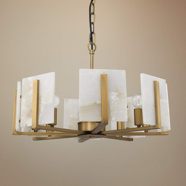 Jamie Young Halo 21 Wide Br And Alabaster Chandelier