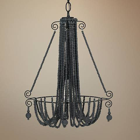"Jamie Young Maya 18"" Wide Dark Charcoal Beads Chandelier"