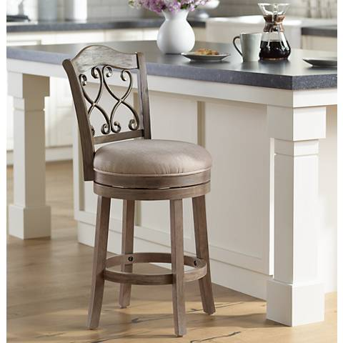 "Newton Tuxedo Putty Fabric 26"" Swivel Counter Stool"