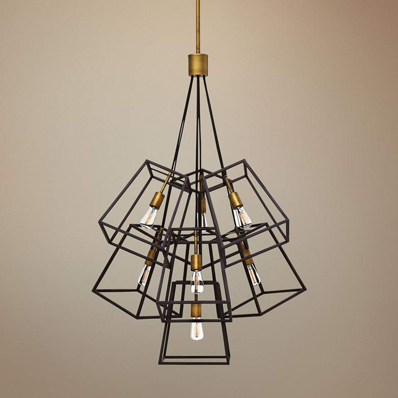 "Hinkley Fulton 27 3/4""W Bronze Cage Multi-Light Pendant"