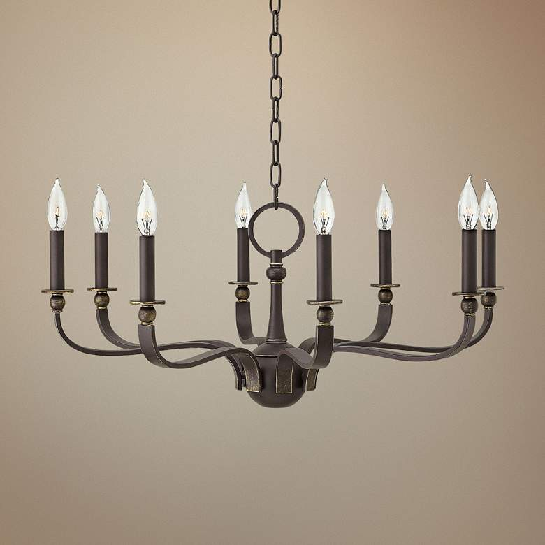 "Hinkley Rutherford 29""W Oiled Bronze 8-Light Chandelier"
