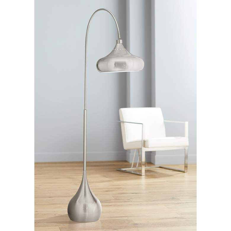 Droplet Brushed Nickel Swivel-Shade Floor Lamp