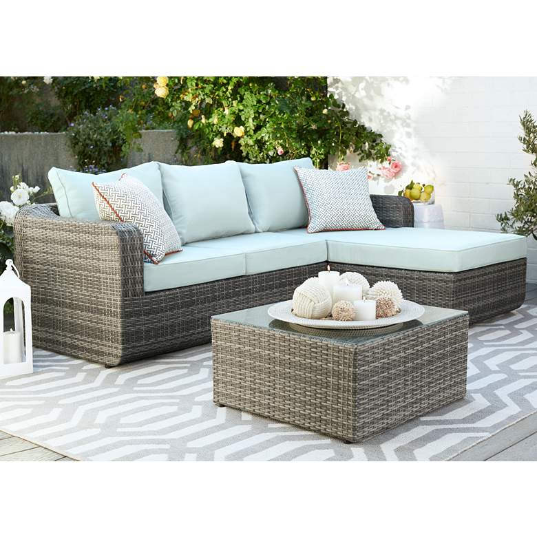 Luies Blue and Gray 3-Piece Outdoor Sectional Patio Set