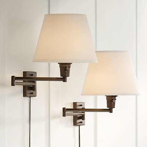 Clement Plug-In Swing Arm Wall Lamp Set of 2 in Bronze