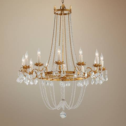 "Viola 37 1/2"" Wide Distressed Gold Leaf Chandelier"