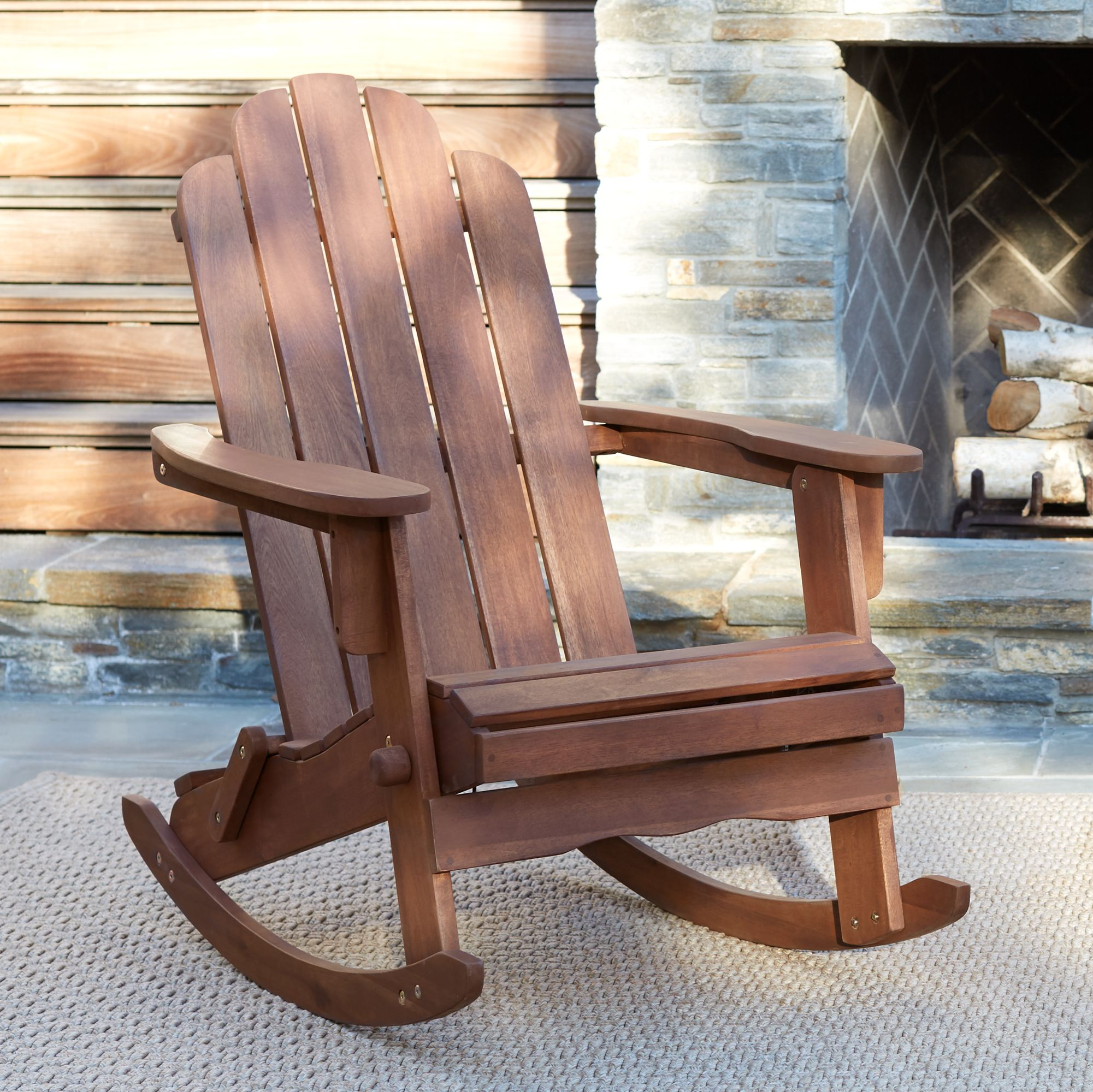 Most Popular Chandler Dark Natural Adirondack Rocking Chair