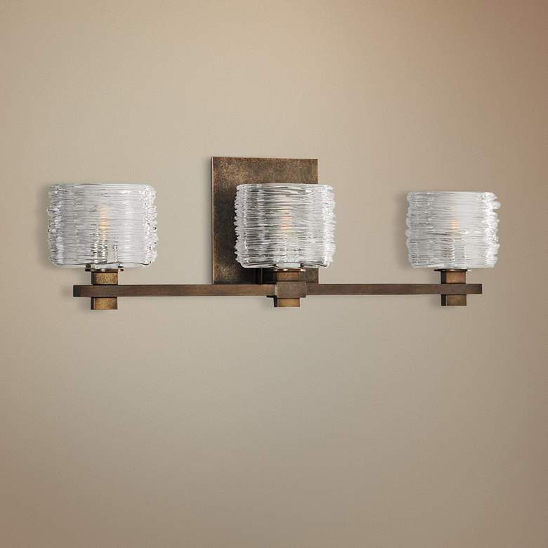 "Clearwater 21"" Wide Vintage Bronze 3-Light Bath Light"