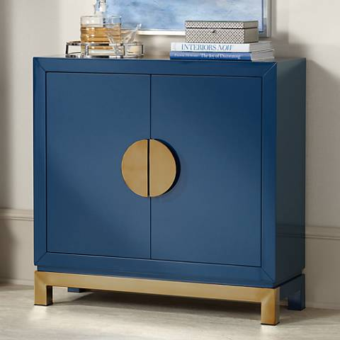 Walden Glossy Blue 2-Door Accent Cabinet
