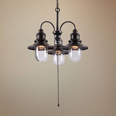"Broadcast 24"" Wide Oil Rubbed Bronze Outdoor Chandelier"