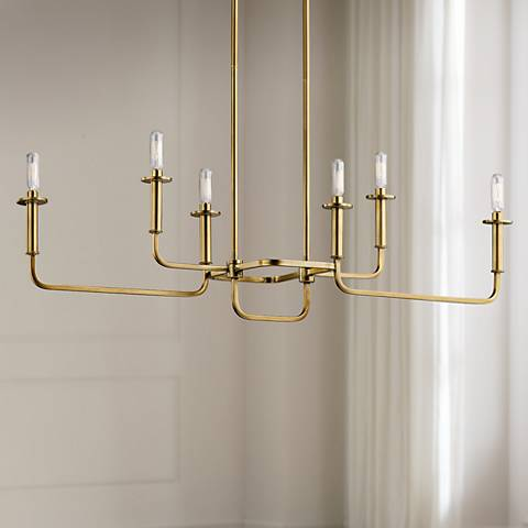"Kichler Alden 38 1/2""W Brass 6-Light Linear Chandelier"