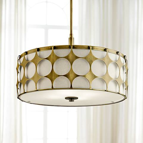 "Kichler Charles 20 1/2""W Natural Brass 4-Light Pendant"
