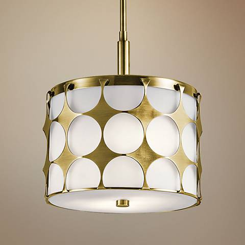 "Kichler Charles 12""W Natural Brass 2-Light Mini Pendant"