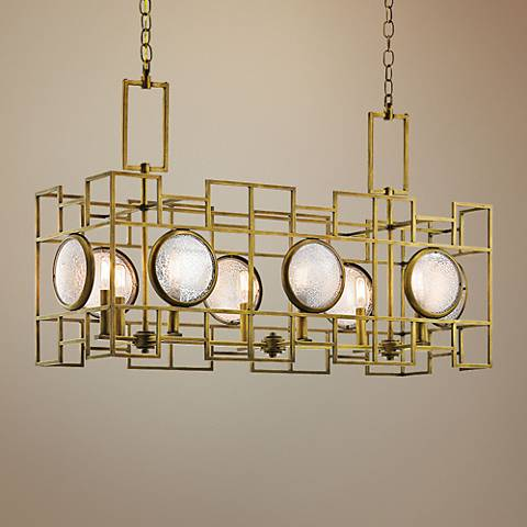 "Kichler Vance 37 1/4""W Brass 6-Light Linear Chandelier"