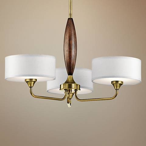 "Kichler Lucille 24"" Wide Natural Brass 3-Light Chandelier"