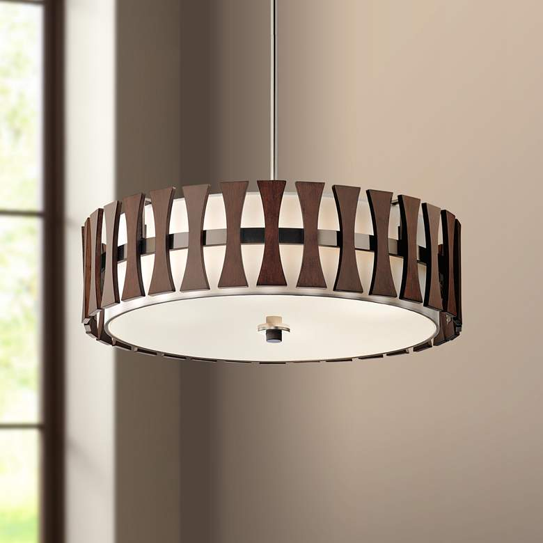"Kichler Cirus 24"" Wide Auburn Wood Convertible Pendant Light"