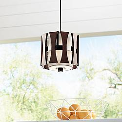"Kichler Cirus 8"" Wide Auburn Wood 1-Light Mini Pendant"