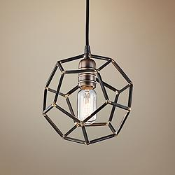 "Kichler Rocklyn 8"" Wide Raw Steel 1-Light Pendant"