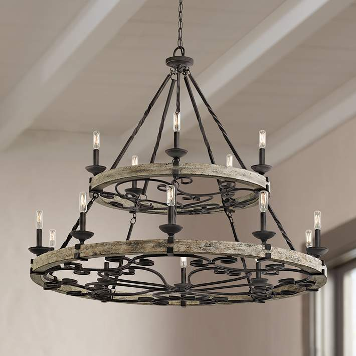 Taulbee 44 Wide Aged Zinc 15 Light Wagon Wheel Chandelier 1w604 Lamps Plus