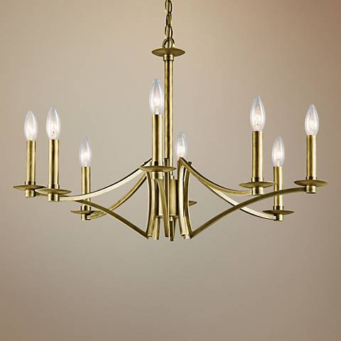 "Kichler Grayson 28"" Wide Natural Brass 8-Light Chandelier"