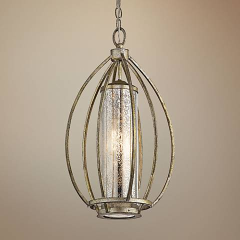 "Kichler Savanna 12"" Wide Sterling Gold Cage Mini Pendant"
