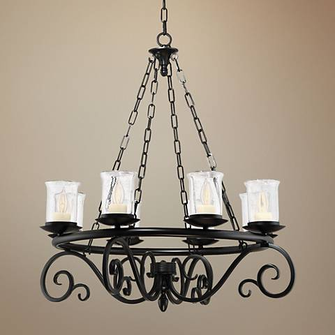 "Savoy House Welch 32"" Wide Black Outdoor Chandelier"