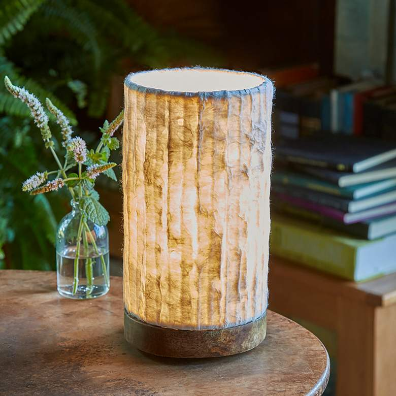 "Eangee 9""H Paper Cylinder Lines Mini Accent Table Lamp"