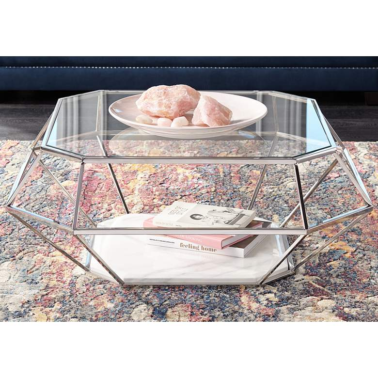 "Venus 39 1/2"" Wide Geometric Glass Modern Coffee Table"