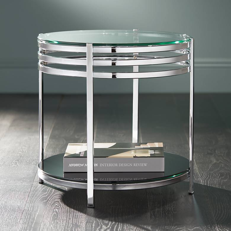 "Rico 21"" Wide Chrome and Glass Modern Round End Table"