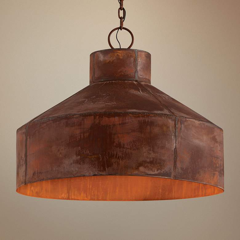 "Rise & Shine 32"" Wide Rust Patina Pendant"