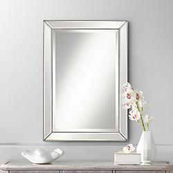 "Roseau Silver Pewter 24"" x 34"" Beaded Wall Mirror"