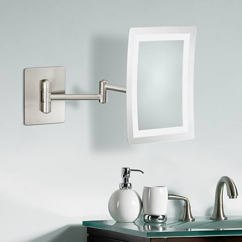 Aptations Brushed Nickel LED 3X Rectangular Makeup Mirror
