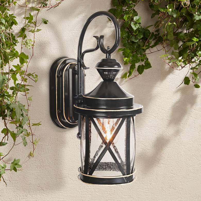 "Marietta Black 18 1/4""H Motion Sensor Outdoor Wall"