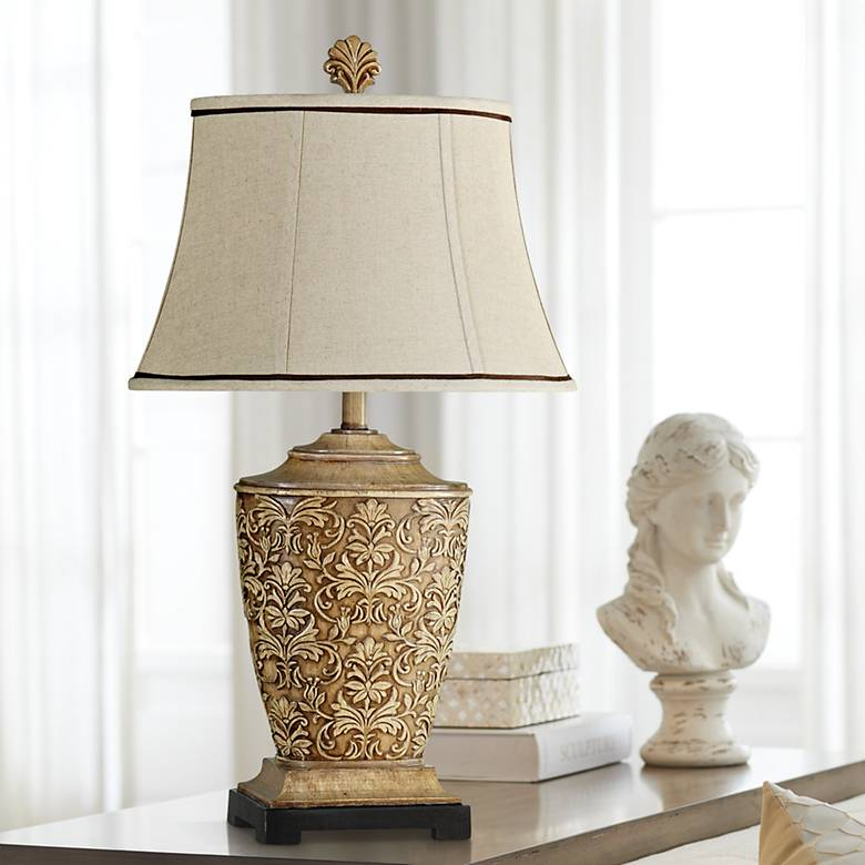 Ashford Tortola Cream Fleur de Lis Table Lamp