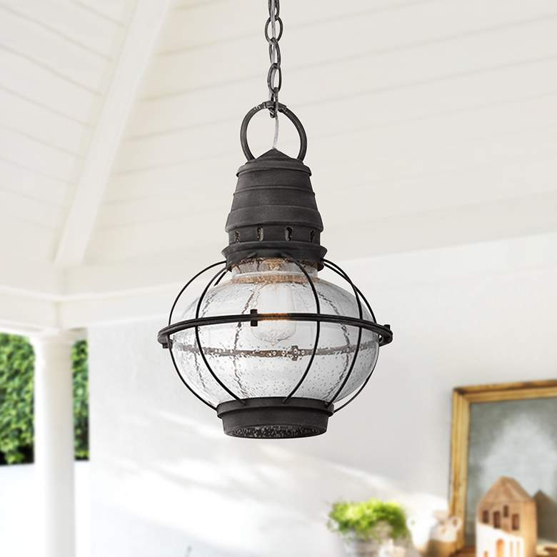 "Kichler Bridge Point 16"" High Zinc Outdoor Hanging Light"