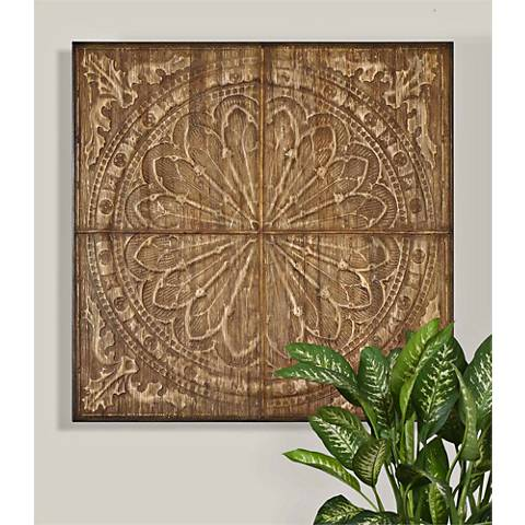 "Uttermost Camillus 44"" Square Earth Tone Tile Wall Art"