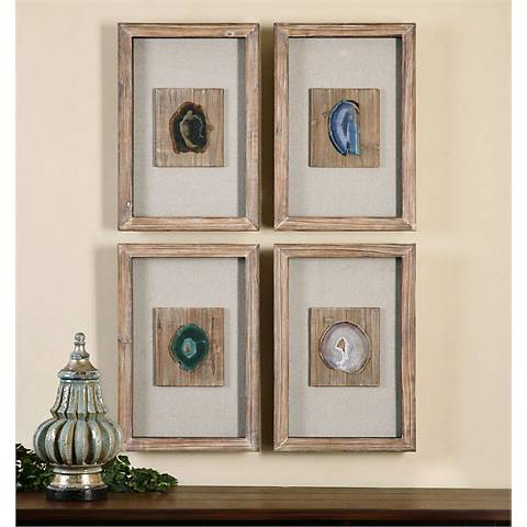 "Uttermost Agate Stone 4-Piece 21"" High Wall Art Set"