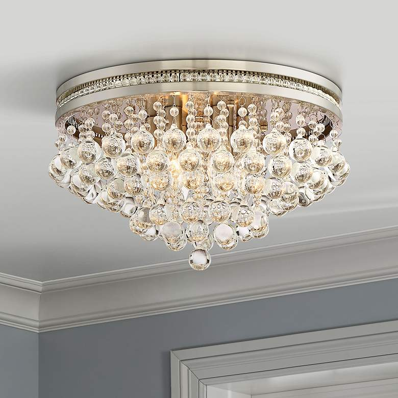 Regina Brushed Nickel 15 1 4 Wide Crystal Ceiling Light