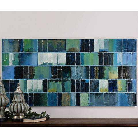 "Uttermost Glass Tiles 60"" Wide Abstract Canvas Wall Art"