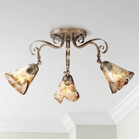 Organic Amber Glass 3-Light Ceiling Track Fixture