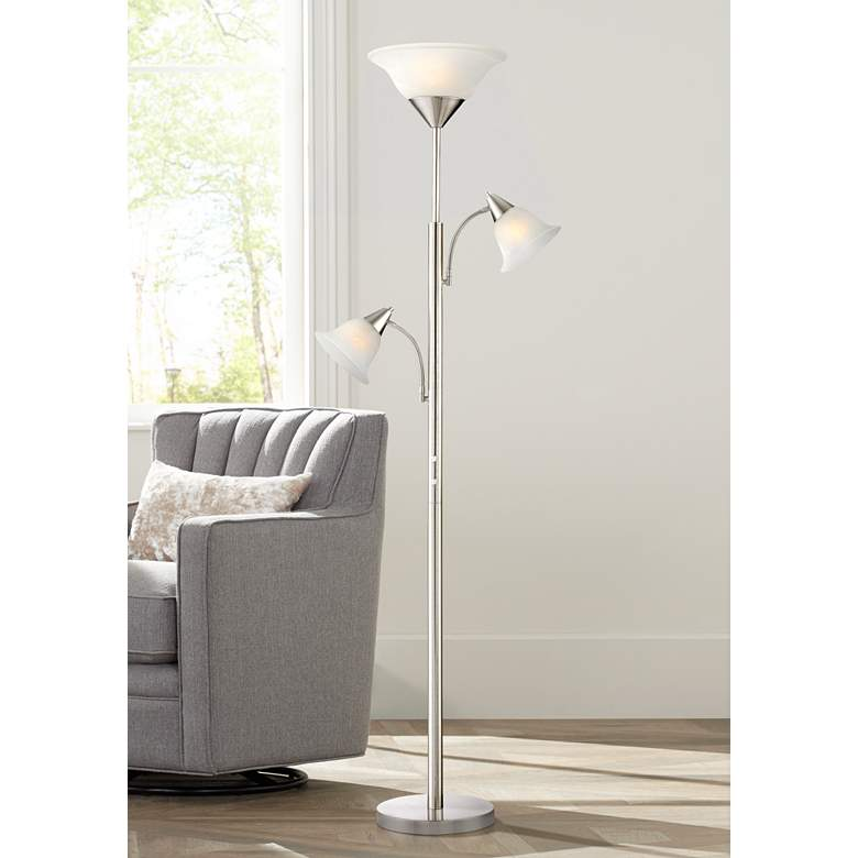 Jordan Brushed Nickel Tree Torchiere 3 Light Floor