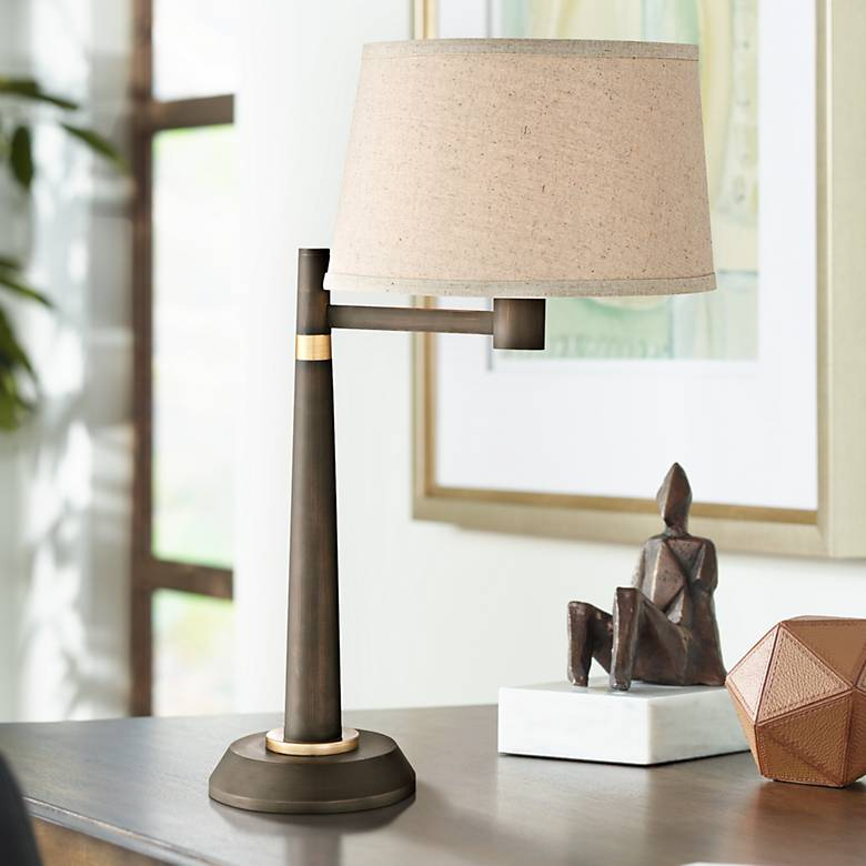 Lite Source Tarika Burnished Bronze Desk Lamp