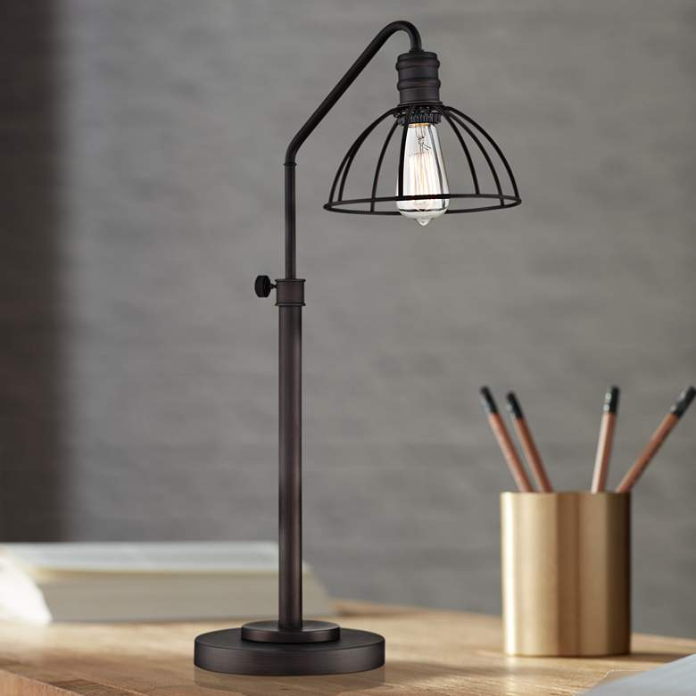 Lite Source Gaius Bronze Industrial Cage Desk Lamp