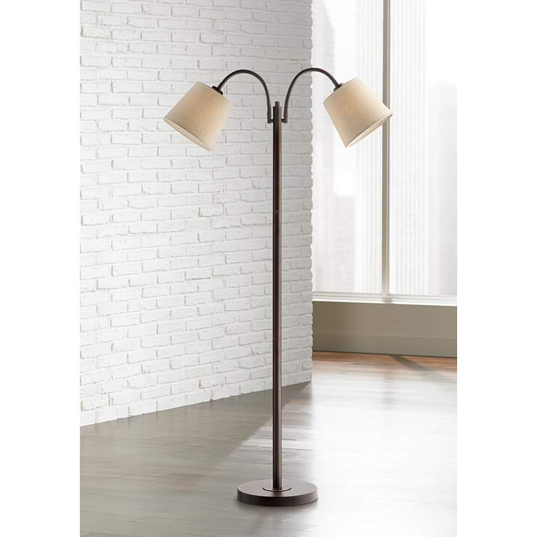 Seneca Bronze Twin Arm Gooseneck Floor Lamp