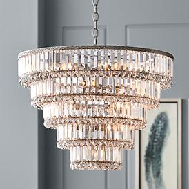Magnificence Satin Nickel 24 1 2 Wide Crystal Chandelier