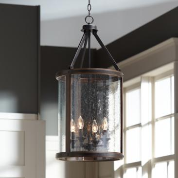 "Gorham 16"" Wide Wood and Metal 4-Light Pendant Light"