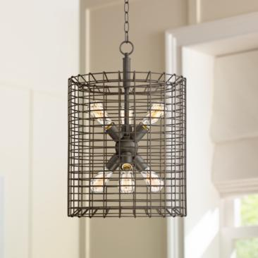 "Fonderie 16"" Wide Rusty Bronze Foyer Pendant Light"