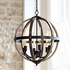 Kimpton 6 Light 21 Wide Dark Bronze Led Orb Chandelier