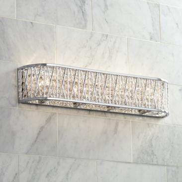 "Possini Euro Woven Laser Cut 24"" Wide Chrome Bath Light"