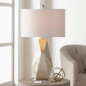 Possini Euro Champagne Gold Geometric Table Lamp
